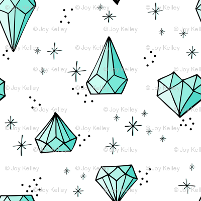 Jewels big // Mint with black outlines