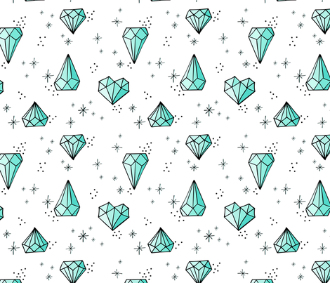 Jewels big // Mint with black outlines fabric by howjoyful on Spoonflower - custom fabric