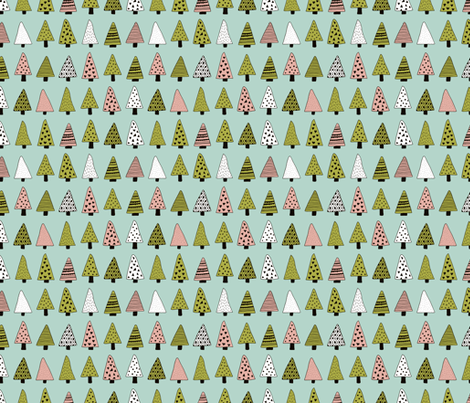 Fall forest geometric triangle christmas trees seasonal holidays forest green fabric by littlesmilemakers on Spoonflower - custom fabric