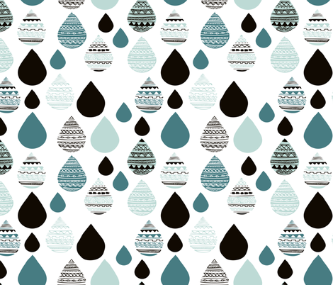 rainy day drops are falling from the sky aztec water winter blue fabric by littlesmilemakers on Spoonflower - custom fabric