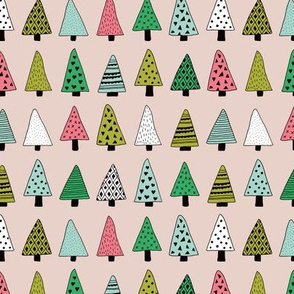 Fall forest geometric triangle christmas trees seasonal holidays forest multi color