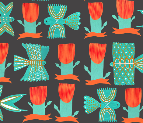 Aztecish Birds fabric by zoe_ingram on Spoonflower - custom fabric