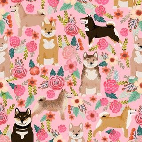 shiba inu pink flowers florals cute dog fabric for shiba inu owners girls flowers