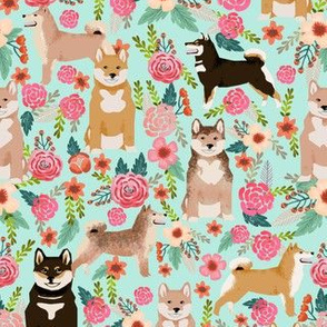 shiba inu florals mint dog dogs pets japanese dog fabric cute japanese dog