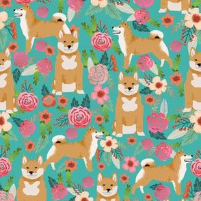 shiba inu floral turquoise flowers girls sweet dog pet doggy fabric for girls