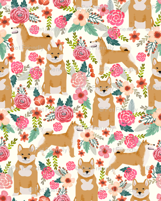 shiba inu florals flowers cream girls sweet dog dogs pet dog flowers fabric