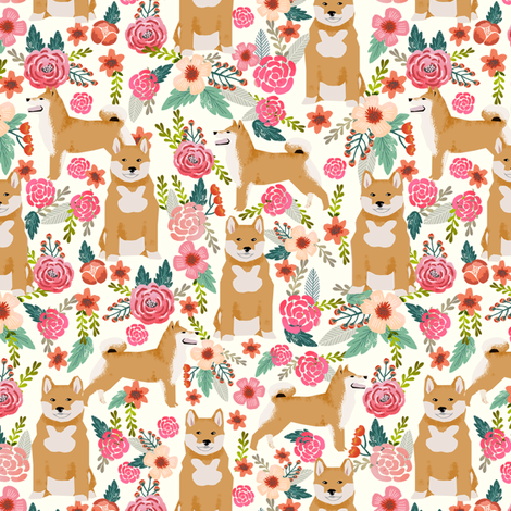 shiba inu florals flowers cream girls sweet dog dogs pet dog flowers fabric fabric by petfriendly on Spoonflower - custom fabric