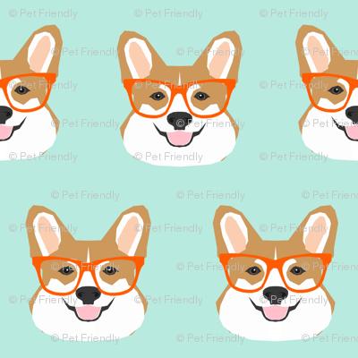 corgi glasses mint and orange cute corgi glasses fabric pet pets cute dog fabric for pet owners dogs
