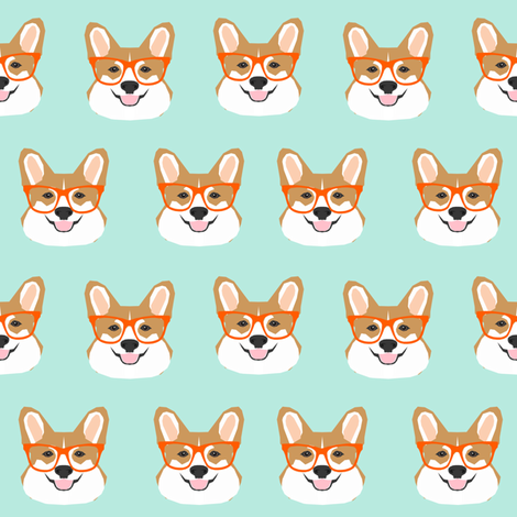 corgi glasses mint and orange cute corgi glasses fabric pet pets cute dog fabric for pet owners dogs fabric by petfriendly on Spoonflower - custom fabric