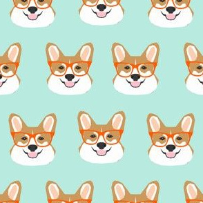 corgi glasses mint and orange cute corgi glasses fabric pet pets cute dog fabric for pet owners dogs
