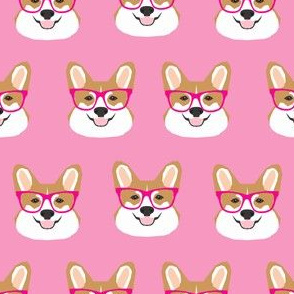 corgi glasses pink girls girly corgi fabric pet dog cute  corgi wearing glasses fabric