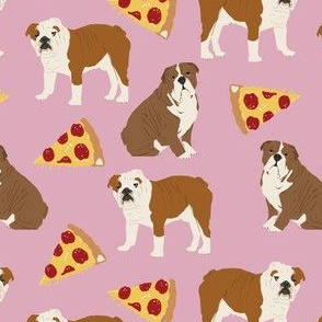 english bulldog pizza cute dusty pink girls sweet dog dogs pizza dog cute dog design fabric