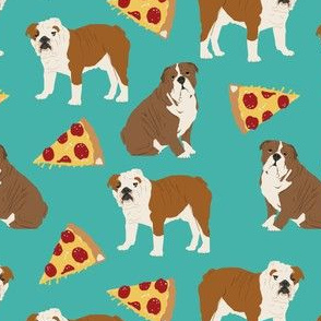 english bulldog and pizzas food dog pizza dog fabric cute english bulldog design dogs with pizza