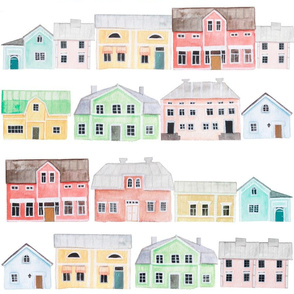 Scandinavian Pastel houses Tea Towel