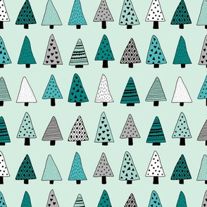 Winter forest geometric triangle christmas trees seasonal holidays forest multi color