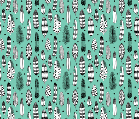 Quirky birds fun Ibiza indian fall summer vintage inspired feathers in ink fall winter collection blue green fabric by littlesmilemakers on Spoonflower - custom fabric