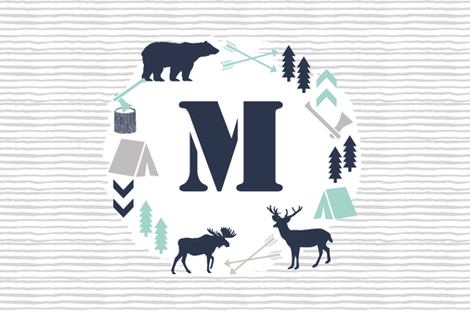 boys nursery baby boy camping woodland bear forest navy blue mint and grey kids nursery baby quilt FQ monogram fabric by charlottewinter on Spoonflower - custom fabric