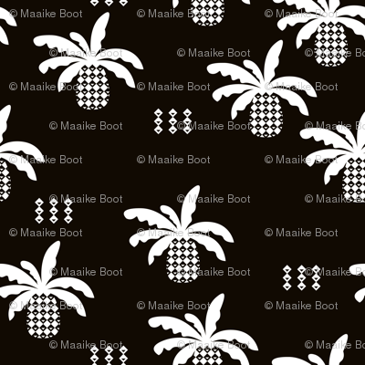 Black and white geometric abstract palm tree pineapple print