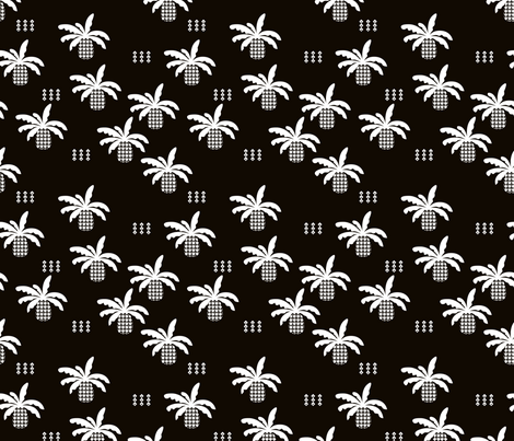 Black and white geometric abstract palm tree pineapple print fabric by littlesmilemakers on Spoonflower - custom fabric