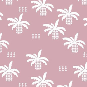 Geometric abstract palm tree pineapple print lilac fall