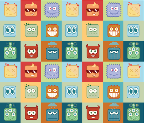 Silly Monster Faces fabric by studiofibonacci on Spoonflower - custom fabric