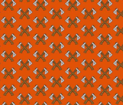 Lumberjack Axe Orange fabric by collective_iq on Spoonflower - custom fabric