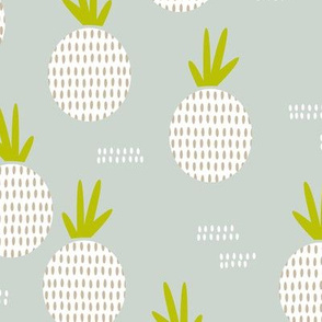 Retro round pineapple fruit kitchen pastel Scandinavian style summer design gender neutral gray