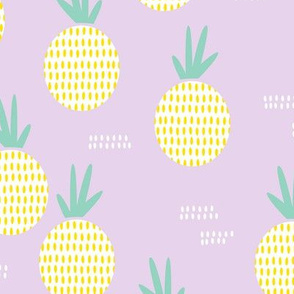 Retro round pineapple fruit kitchen pastel Scandinavian style summer design lilac yellow
