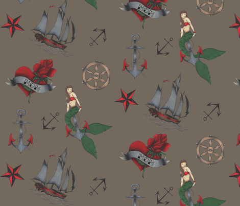 Classic Sailor Tattoo Fabric Dark Brown fabric by bella_modiste on Spoonflower - custom fabric