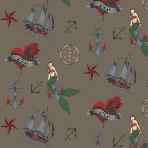 Classic Sailor Tattoo Fabric Dark Brown