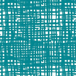 Raw grunge grid abstract brush strokes and stripes mix maze design teal blue