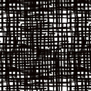 Raw grunge grid abstract brush check strokes and stripes mix maze design black and white