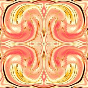 CD47 - Cosmic Dance, where energy flows and sparks fly,  peachy pink and gold