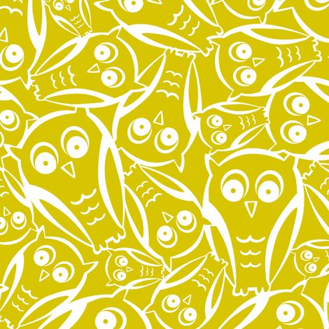 Night Owl - Yellow Glow fabric by heatherdutton on Spoonflower - custom fabric