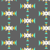 Turquoise, mustard, grey tribal 2