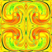 Cosmic Dance in Bright  Yellow, Orange and Green, where energy flows and sparks fly, half drop repeat