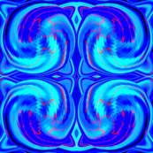 Cosmic Dance in Intense Blue and Teal with accents of Red Hot Orange,  where energy flows and sparks fly,  half drop repeat
