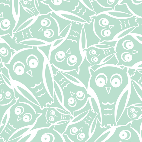 Night Owl - Aqua Mist fabric by heatherdutton on Spoonflower - custom fabric