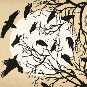 Ravens Call Halloween Tea Towel - Beige Brown