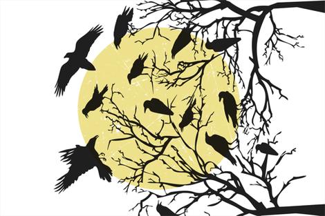 Ravens Call Halloween Tea Towel - White fabric by heatherdutton on Spoonflower - custom fabric