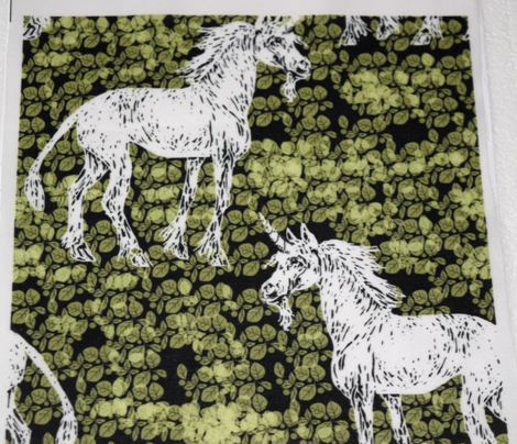 Scratchboard Unicorn on Black and Green Leaves