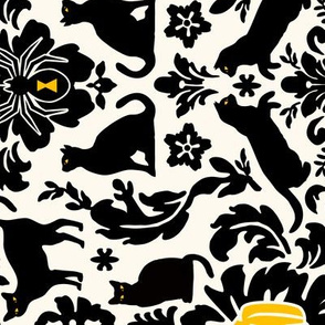 Black Cat Damask 90degrees