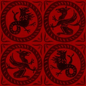 13th Century Dragon Tile ~ Richelieu_Red_and_Black____Peacoquette_Designs___Copyright_2016