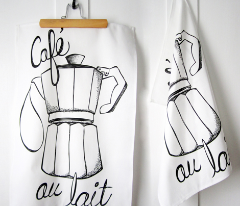 Cafe au lait Tea Towel - Coffee