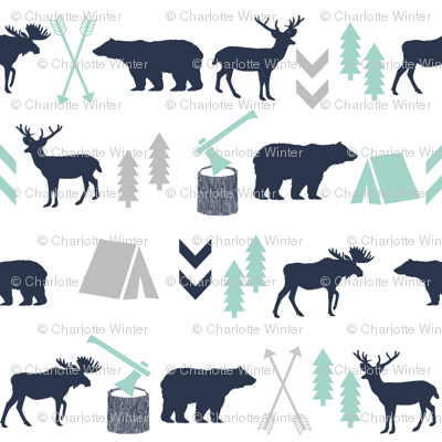 boys nursery baby boy camping woodland bear forest navy blue mint and grey kids nursery baby quilt FQ monogram