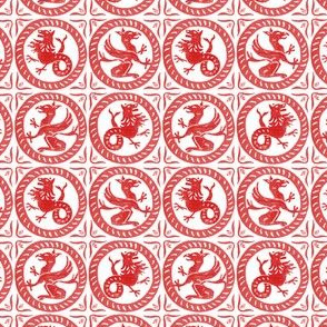 13th Century Dragon Tile ~ Richelieu Red on White