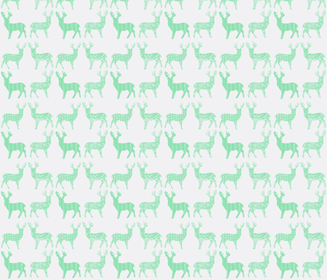 Mint Meadow Deer on White fabric by kbexquisites on Spoonflower - custom fabric