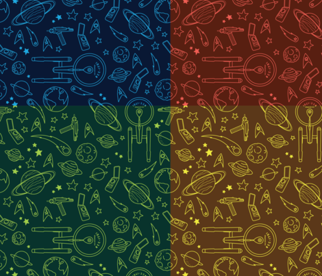 To boldly go color star trek tos pattern fabric for Star design fabric