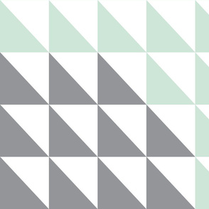 2 yard - Triangle Quilt top - mint/peach/pink/grey