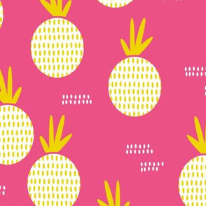 Colorful retro round pineapple fruit kitchen pastel memphis style summer design pink yellow